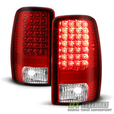 2000-2006 Chevy Suburban 1500 2500 Tahoe Red Clear LED Tail Lights Brake Lamps