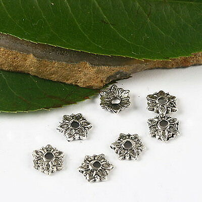 40//120pcs Tibetan Silver Tree Leaf Loose Spacer Beads Charme Jewelry Making 7 mm