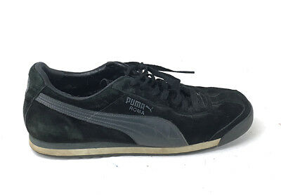 ab038b97e918 Puma Roma Black Charcoal Suede Leather Lace Up Sneakers Shoes Men s US 10.5