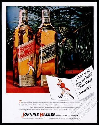 1946 Johnnie Walker Red Black Scotch Whisky bottle photo Xmas vintage print ad