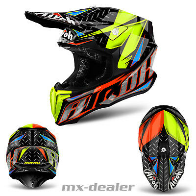 2019 Airoh Torsion Iron Orange Brillant Mx Casque Cross Enduro Quad