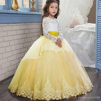 Hot Fashion Baby FLOWER GIRL DRESS Party Princess Birthday Dresses Gown