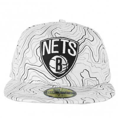 New Era Baseball Brooklyn Nets Cappello Contour Crown NBA 59Fifty Fitted  Bianco 93949c611c4d