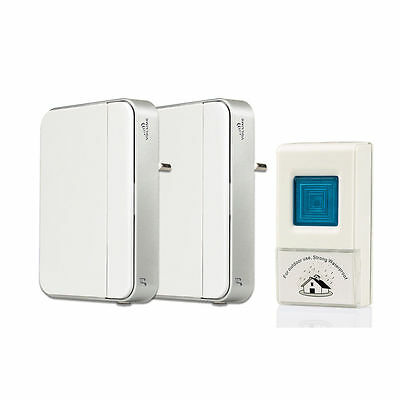 New Wireless Doorbell Chime Kit Remote Button+Receiver LED Indicator for Home