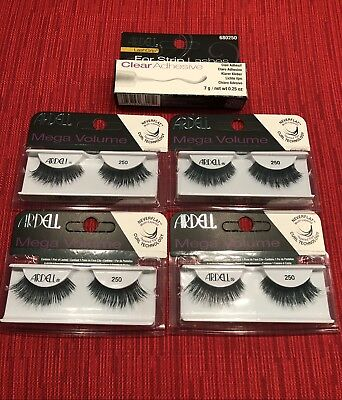 ea36eff128f *4 Pack* ARDELL MEGA VOLUME NEVER FLAT LASHES #250 *PLUS* Clear