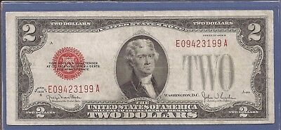 1928 G $2 United States Note (USN),Large Red Seal,circulated Very Fine,Nice!