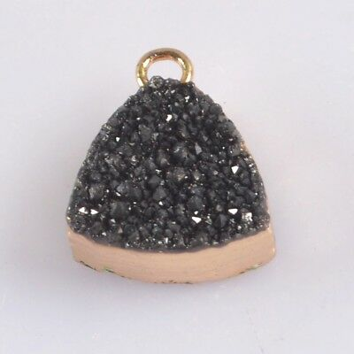 12mm Triangle Natural Agate Titanium Druzy Charm One Bail Gold Plated B075862