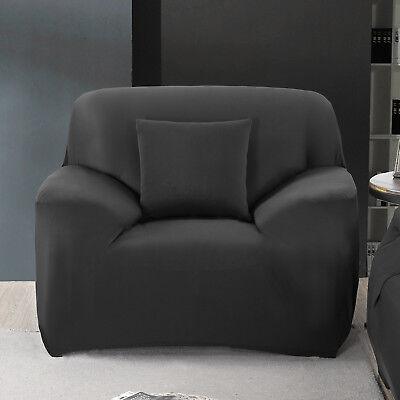 Easy Stretch Couch Sofa Lounge Covers Recliner 1 Seater Dining Black Chair Cover