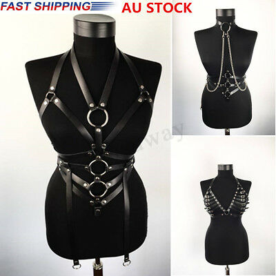 Women Top Body Harness Bondage Bra PU Leather Chains Belt Strap Corset Bustier