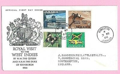 JAMAICA 1966 Official FDC - ROYAL VISIT - QUEEN & PRINCE PHILIP - Cds Kingston