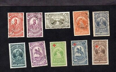 ETHIOPIA.1931/6.7xDIFFT PICTORIAL DEFINITIVES TO 8g PLUS 3xDIFF'T RED X O'PRINTS