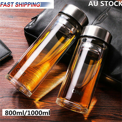 AU 800/1000ML Large Glass Water Bottle Double Walled Travel Mug with Tea Infuser