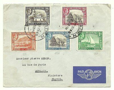 ADEN: Cover franked 5 diff.  stamps GVI definitives from Aden 1948 to France