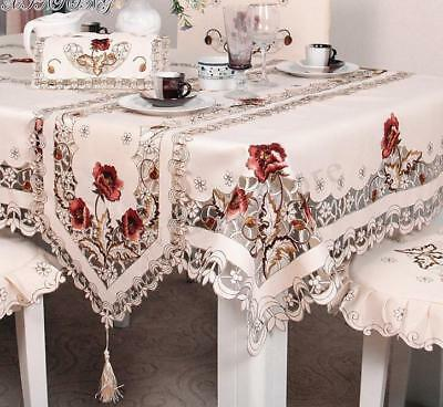 Flower Embroidered Tablecloth Coffee Table Cloth Doily Satin Cover Party Decor
