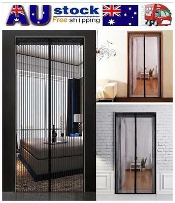 1x SET Magnetic Door Mesh Black Fly Screen Magic Magna Mosquito Bug Curtain AU