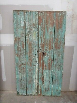 Antique Pair Mexican Old-Primitive-Rustic-39x70-Barn Doors-Pine-Turquoise-Heavy