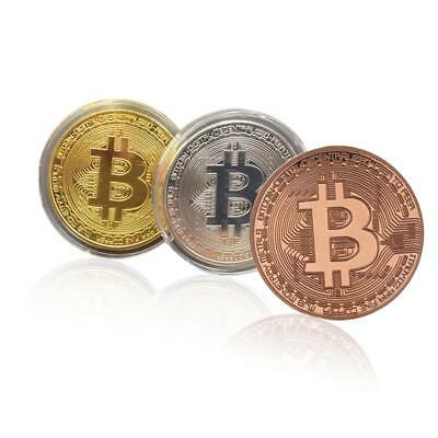 1PC Gold Plated Bitcoin Commemorative Round Collectors Coin Bit Coins Gift  24K