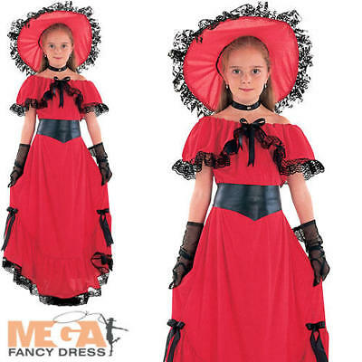 Scarlett O'Hara Girls Fancy Dress World Book Day Wild West Childrens Kid Costume