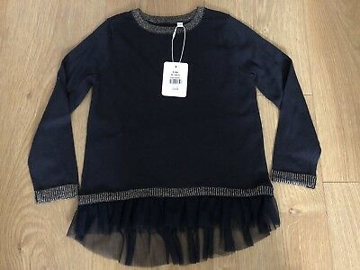 New Girls Outfit Kids Black Frilly Jumper Top - 3 - 4 Years - Mint + Tag
