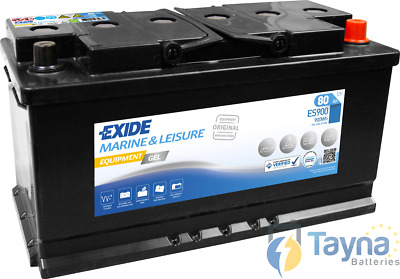 ES900 Exide G80 Marine and Multifit Gel Batterie Camping Bateau 80Ah