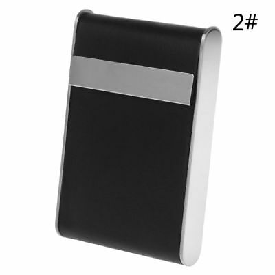 Thin Black Pocket Leather Metal Tobacco Cigarette Smoke Case Holder Storage Box