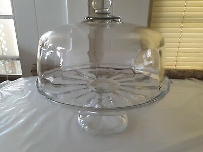 Clear Glass Pedestal Cake Stand With Dome Cover