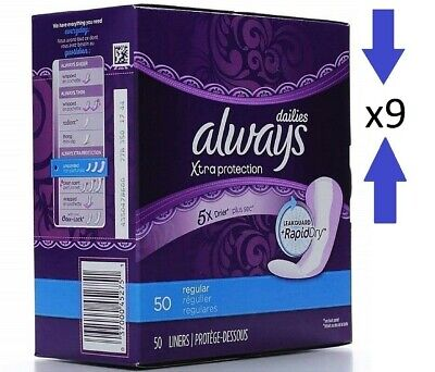 Always Xtra Protection Daily Liners Regular 9 Box Pk 450 Count Damaged Box B007