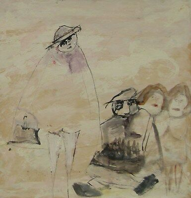"""LISTED Frank Koci (1904-1983) Expressionist """"Family Birthday"""" Oil Painting #2 NR"""