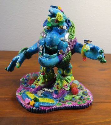 Fantastic Pottery Sculpture Moon Man Dreams Jeweled Whimsical Signed Rice 1988