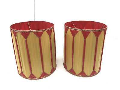 Vintage LAMP SHADE PAIR Red Gold hollywood regency mid century light decor round
