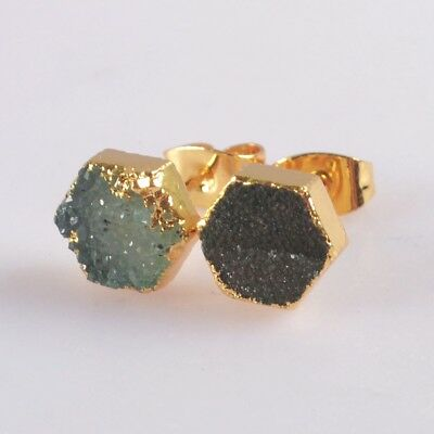 8mm Hexagon Agate Druzy Geode Stud Earrings Gold Plated H128928