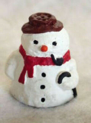 English Pewter Hand Painted Snowman Thimble.