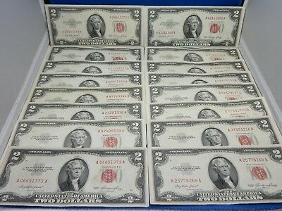 Lot of 16 1953 $2 Red Seal US Notes - Very Fine