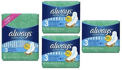 Always Ultra Thin Size 3 Extra Super Long Pads 4 Pack 74 Count Torn Package B007