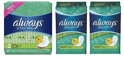 Always Ultra Thin Size 2 Long Super Pads 3 Pack 115 Count Torn Package B007