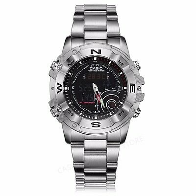 Casio AMW705D-1A Stainless Steel Mens Moon Data Hunting Timer Thermometer Watch