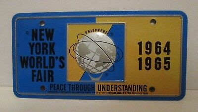 Vintage 1964 1965 Nywf New York Worlds Fair Souvenir Mini Metal License Plate