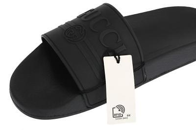 c840f193a New Gucci Men's Logo Black Rubber Slides Sandals Flip Flops Shoes 7 G/Us 7.5
