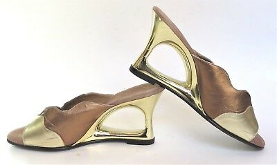 GOLD Vintage 70s ONEX Wedge Cutout Heels Dress Shoes Mules Disco Metallic 6 6.5