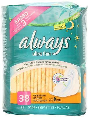 Always Ultra Thin Overnight Pads Level 4 w/ Flexi Wings 34 Count Torn Pkg B009