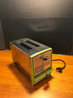 Vintage Sears & Roebuck Chrome & Avocado Green 2 Slice Toaster Retro Decor Works