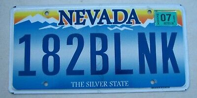 "Silver State Nevada Vanity Auto License Plate "" 182 Blnk "" Music Group Blink 182"