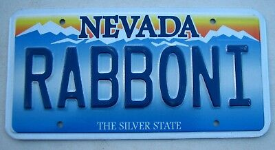 "Silver State Nevada Vanity Auto License Plate "" Rabboni "" Rabbi Rabbit Rab Boni"