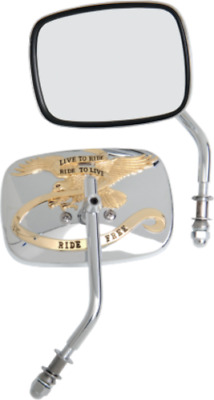 Drag Specialties Live to Ride gold motorcycle mirrors Harley FLHT FXD FLTR XL