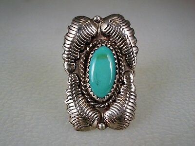 VINTAGE NAVAJO STERLING SILVER LEAVES & GREEN TURQUOISE RING sz 7