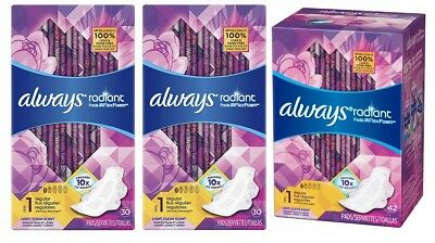 Always Radiant Pads Level 1 Regular 3 Pack 102 Count Damaged Boxes B009