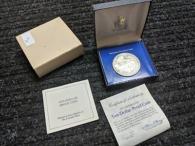 BARBADOS 🇧🇧 PROOF TEN 10 DOLLARS 1974 Mint STERLING SILVER Neptune 🔱 #67