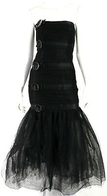 YVES SAINT LAURENT Vintage Black Jeweled Belted Dot Tulle Gown 40