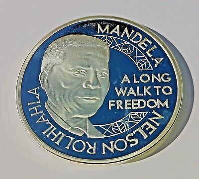 Nelson Mandela Silver Coin Signed South Africa World Famous Legend Icon RSA Old