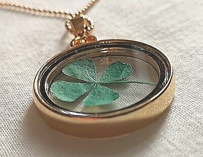 Lucky Real 4 Leaf Clover Gold Necklace St Paddys Day Luck Hand Made with Love UK